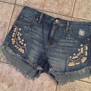 Free People Embroidery Distressed Cutoff Shorts
